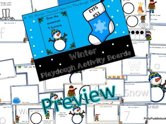 Winter Themed Play Dough Activity Boards for Early Years and KS1