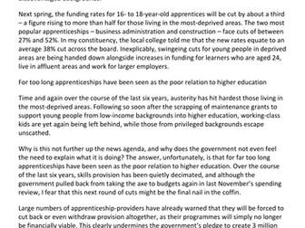 AQA English Lang P1, Q1-3 - Apprenticeships