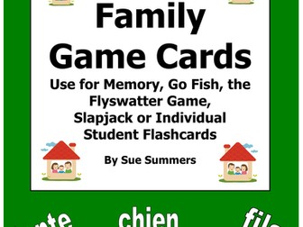 French Family Cards for Flashcards, Memory, Go Fish, Flyswatter Game