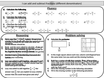 Adding and subtracting fractions - mastery worksheet
