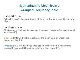 Mean :Grouped: Frequency Table