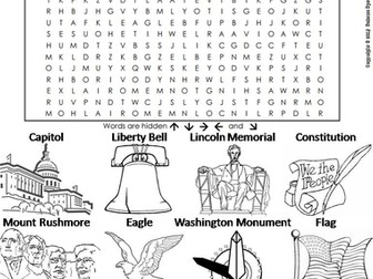American Symbols Word Search