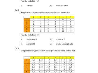 Sample Space Probability Homework