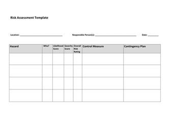 Risk Assessment - Physical Education BTEC/GCSE/A-Level