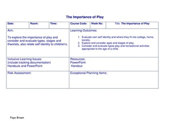 Lesson plans to teach about play, bundle of 3