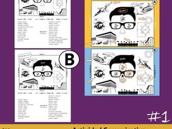 Diferencias * Juego de Comunicación en Español *Spanish Prepositions Game * Spot the Difference!
