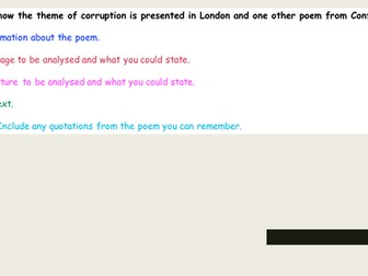 AQA Poetry Comparison - London and Ozymandias