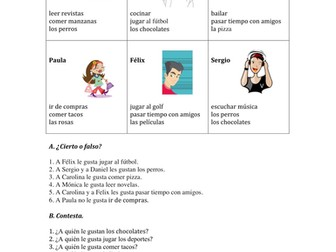 Gustar and Similar Verbs Practice in Spanish