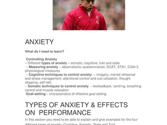 A-Level Anxiety booklet and specification overview