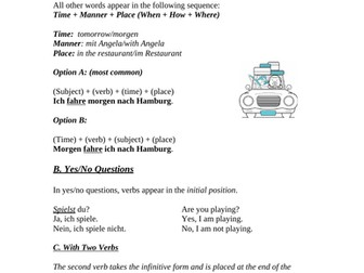 German Word Order with Present and Future Tenses (2 Worksheets)