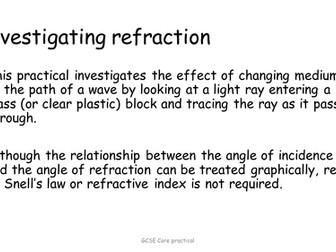 Refraction - Investigating Refraction Edexcel core practical GCSE (9-1)