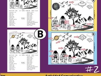 Diferencias #2 * Juego de Comunicación en Español *Spanish Prepositions Game* Spot the Differences!