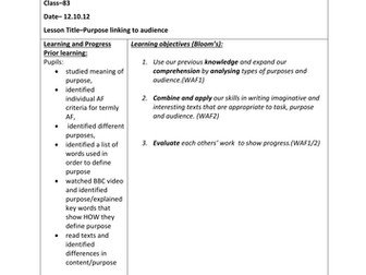KS3 Oustanding Lesson Unit on Writing to Review