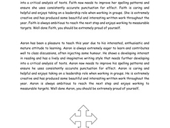 KS3 English report writing comment bank