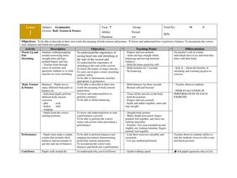 40 GYMNASTICS LESSON PLANS