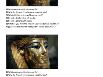Ancient Egyptian death mask differentiated lesson