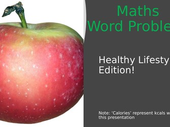 40 slide Mixed Topic Maths Word Problems Healthy Lifestyle Theme Powerpoint GCSE/National 5