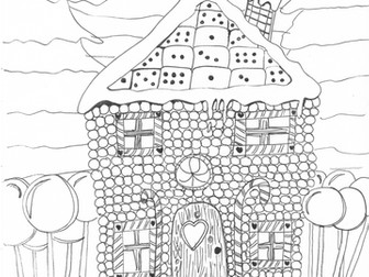 Gingerbread House Christmas Colouring Page