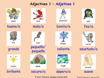 Adjectives in Spanish Posters (18 Spanish adjectives  posters)