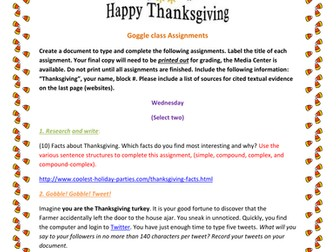 Thanksgiving Writing Ideas