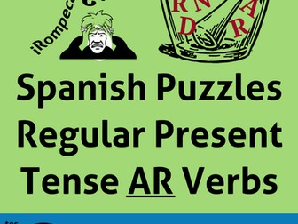 "Spanish Puzzles for Regular Present Tense ""AR"" Verbs. Juegos de los Verbos Regulares con ""AR"""