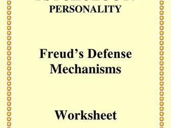 Psychology Defense Mechanisms Worksheet Teaching Resources