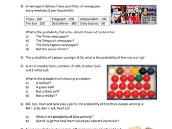 Statistics: Probability 2/3 - Theoretical Probability (2 lessons + resources)