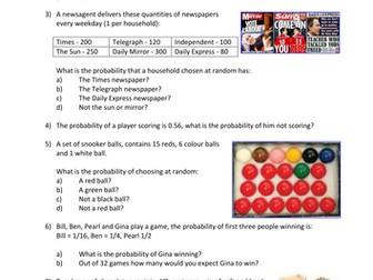 Statistics: Probability 2 - Theoretical Probability 1 (+ worksheet)