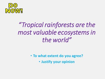 New AQA GCSE The Living World- Tropical Rainforests Lesson #7