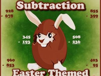 Three Digit Subtraction Worksheets - Easter Themed Worksheets- Vertical