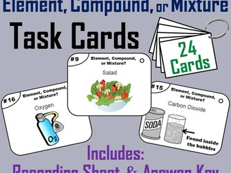 Elements Compounds Mixtures Task Cards