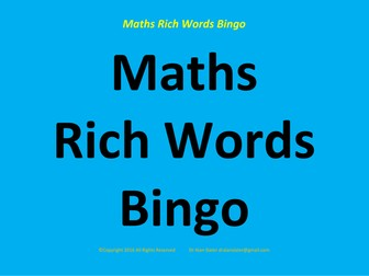 Maths Rich Words Activity
