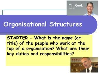 Organisational Structures - Business Studies