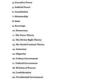 Introduction to American Government Vocabulary List