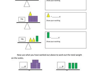 Weighing scales problems 3 differentiated sheets