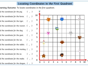 Chinese New Year Locating Co-ordinates In First Quadrant Worksheet