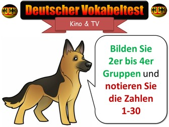 KS4 GCSE German Quiz - Words & Phrases -  Topic: Cinema&TV [AfL, Test, Vocab, Vocabulary]