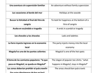Spanish A Level Impact of Drinking Tourism in Spain: el turismo de borrachera reading & translation