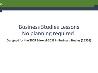 36 Business Studies lesson ideas
