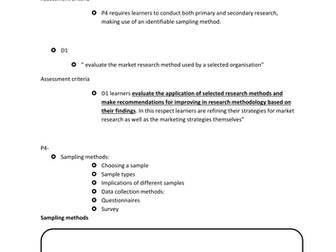 BTEC Level 3 Business Studies Unit 10 Market Research P4 and D1