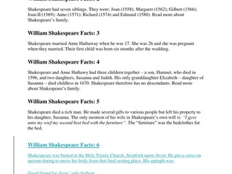 William Shakespeare facts activity - introduction to Shakespeare