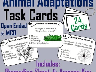 Animal Adaptations Task Cards