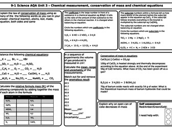 AQA Chemistry GCSE - Revision Mats/Grids for Unit 3 Quantitative, Mass, Moles, Concentration,  PPTX