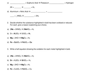 Redox Reactions & Half Equations