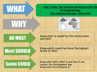 AQA Geography 2016 - The development gap - debt relief - lesson 10