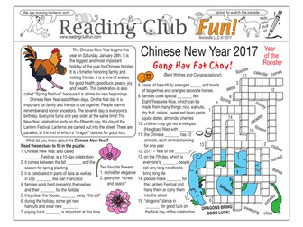 Chinese New Year 2017 (Year of the Rooster) Two-Page Activity Set and Word Search