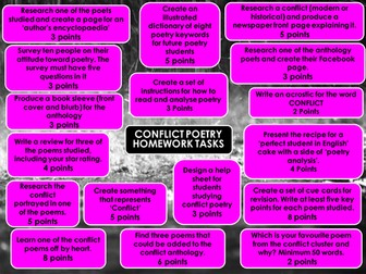 Conflict Poetry Homework Menu