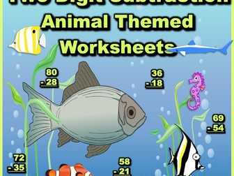 Two Digit Subtraction Worksheets - Animal Themed - Vertical