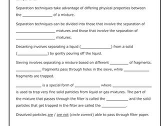 Separation of Mixtures [Cloze Worksheet]