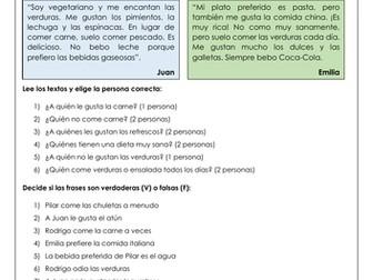 Spanish la dieta y la comida: diet and food reading comprehension